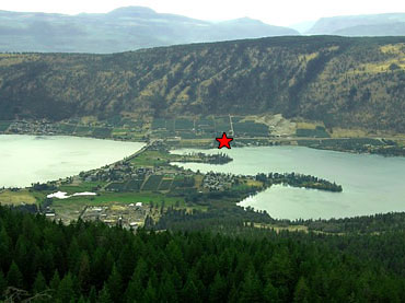 Kalwood Farms located on an aerial photo of Oyama BC lakes
